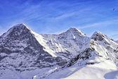 Tschuggen, Monch and Jungfrau peaks in winter — Stock Photo