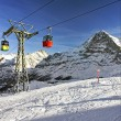 Cable car cabins on winter sport resort in swiss alps — Zdjęcie stockowe #62912383
