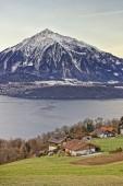 Panoramic view of Swiss Niesen mountain near the Thun lake in wi — Foto Stock