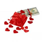 Bundle of dollars in red pouch — Stock Photo