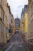 Street near the spring in Evian-les-Bains in France in the New y — Stock Photo