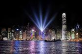 Hong Kong bay and night skyline — Stock Photo