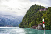 View to shores of Brienz Lake from steamer board — Stock Photo