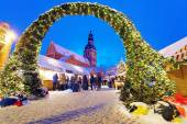 Entrance to the Christmas Market in Riga — Zdjęcie stockowe