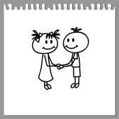 Boy and girl shaking  hands — Stock vektor