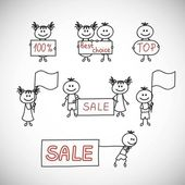 Shopping, sale kids  with banners — Stock Vector
