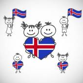Boy and girl with Iceland flag — Stock Vector