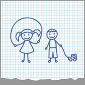 Cartoon Boy and girl playing — Vettoriale Stock