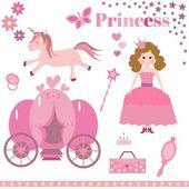 Cartoon princess elements — Stock Vector