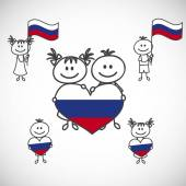 Boy and girl with  Russia flag — Stock Vector