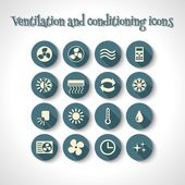 Ventilation and conditioning icons — Stock Vector