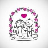 Cartoon wedding couple — Stock Vector