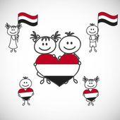 Мальчик и девочка с флагом Йемен — Cтоковый вектор
