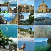Collage of aragon castle and his view — Stockfoto