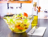 Italian fresh salad and tomato in the kitchen — Photo