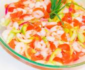 Vegetable with shrimp and tomato — Foto Stock