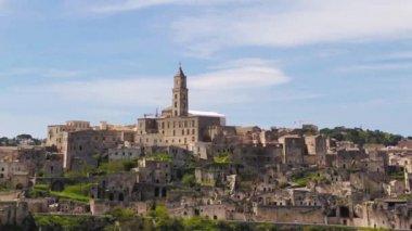 Panoramic view of Matera,basilicata, Italy. UNESCO European Capital of Culture 2019 — Stock Video