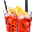 Two glasses of spritz aperitif aperol cocktail with orange slices and ice cubes isolated on white — Stock Photo #72600917