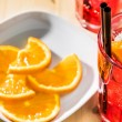 Close-up of glass of spritz aperitif aperol cocktail with orange slices and ice cubes — Stock Photo #72908385