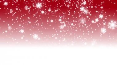 Digital seamless loop christmas red background with white bokeh and stars snow falling holiday xmas — ストックビデオ