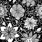 Seamless black and white flowers pattern — Stock Vector