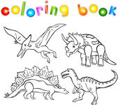 Coloring book of dinosaurs — Stock Vector