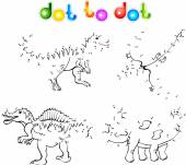 Funny cartoon dinosaurs dot to dot — Stock Vector