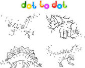 Coloring book of dinosaurs dot to dot — Stock Vector
