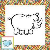 Funny cartoon rhino coloring book — Vetorial Stock