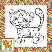 Funny cartoon tiger coloring book — Vetorial Stock