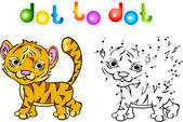 Funny cartoon tiger dot to dot — Vector de stock