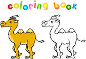 Funny cartoon camel coloring book — Stock Vector