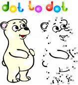 Funny cartoon polar bear dot to dot — Vettoriale Stock