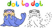 Funny cartoon walrus dot to dot — Vecteur