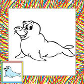 Cartoon fur seal coloring book with border — Stockvector