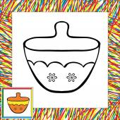 Sugar bowl coloring book — Stock Vector