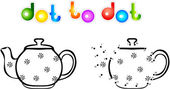 Teapot first dot to dot coloring book — Vector de stock