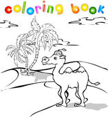 Cartoon camel in desert coloring book — Stock Vector