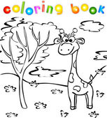 Giraffe in the forest coloring book — Stock Vector