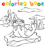 Walrus on the iceberg coloring book — Vettoriale Stock