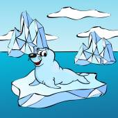 Fur seal on the iceberg — Vector de stock