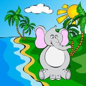 Funny cartoon elephant near a river — Vector de stock