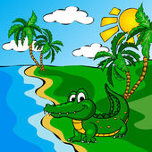 Funny cartoon crocodile near a river — Vector de stock