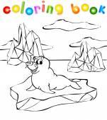 Fur seal on the iceberg coloring book — Vector de stock