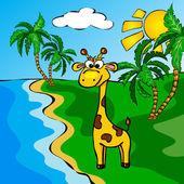 Funny cartoon giraffe near a river — Vector de stock