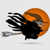 Witch flying on  broomstick icon — Stock Vector