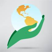 Earth simgesini tutan el — Stok Vektör