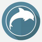 Icon of dolphin, sea animal — Stock Vector
