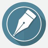 Simge kalem beyaz daire — Stok Vektör