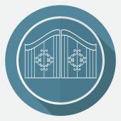 Icon gate on white circle — Stock Vector